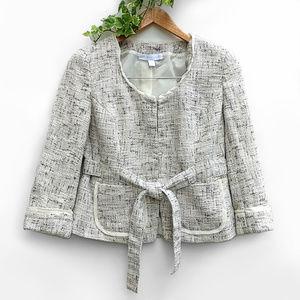 New York & Co Cotton Tweed Tie Waist Work Blazer